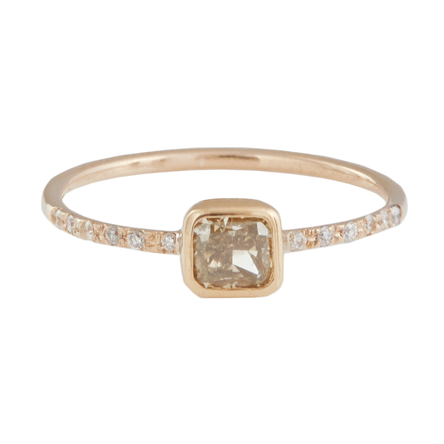 rong ring gold engagement prong brown champagne yellow carat diamond solitaire