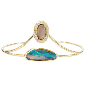 Galaxy Australian opal diamond cuff