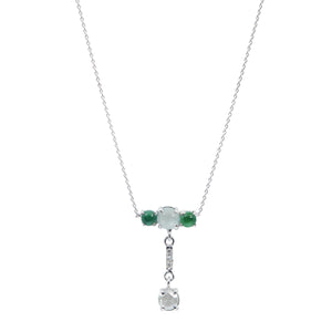 Galaxy natural icy and green jadeite diamond necklace