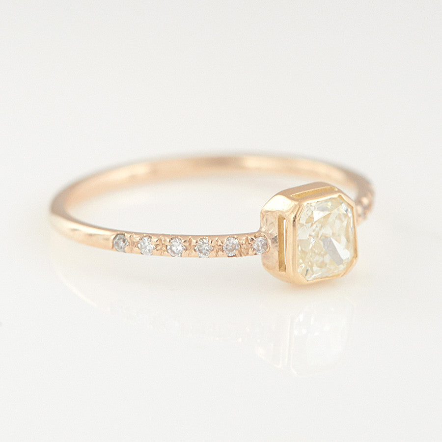 Galaxy light yellow diamond ring - xiao wang jewelry 94a323b72