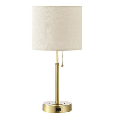 "WINGBO 19.5"" Gold Table Lamp with USB Port, Modern Lighting in Brass Finish with Drum Shade, for Living Room Bedroom End Table Desk Side"
