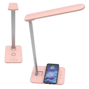 Led Desk lamp with QI Wireless Smart Charger. Home Office Bedside Table Night Light lamp. Dimmable Brightness 3 Lighting Color Changing Modes and Touch Control.