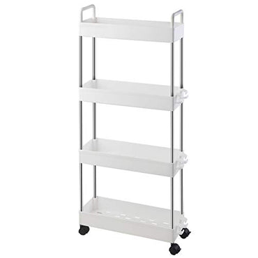Ronlap 4 Tier Slim Storage Cart, Narrow Mobile Shelving Unit with Handle, Thin Rolling Utility Cart Slide Out Skinny Storage Organizer Tower for Kitchen Bathroom Laundry Room, White