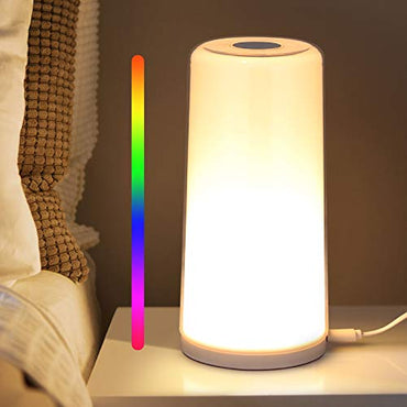 Albrillo Table Lamp - Touch Sensor Bedside Lamp, Dimmable Warm White Touch Lamp and RGB Color Changing Nightstand Light for Bedroom, Baby Kids Room, Living Room, Office
