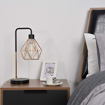 COTULIN Modern Industrial Farmhouse Table Lamp,Black Bedside Nightstand Reading Lamp with Metal Cage Shade for Bedroom,Vintage Gold Desk Lamp for Living Room Office Study Dorm(Bulb not Included)