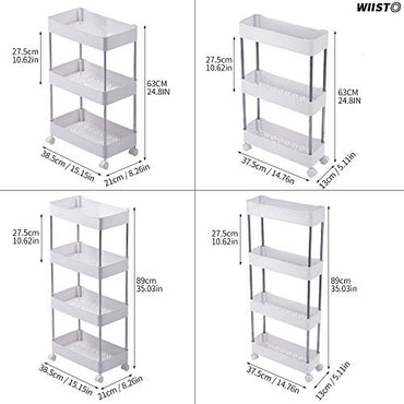 Wiisto Assembly Slim Storage Cart Mobile Shelving Unit Organizer Slide Out Storage Rolling Utility Cart Tower Rack for Kitchen Bathroom Laundry Narrow Places (White, 24.814.765.1in)