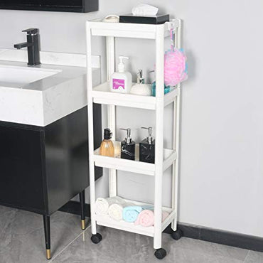 EXILOT 4 Tier Bathroom Organizers Slide Out Storage Shelves Mobile Shelving Unit Organizer Rolling Utility Cart with Casters Wheels for Bathroom Kitchen Laundry Narrow Places storage and organization.