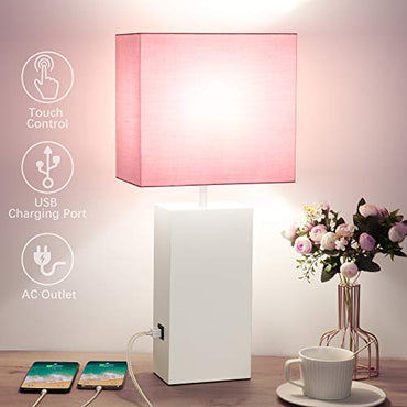 "Pink Touch Table Lamp, 3 Way Dimmable, 2 USB Charging Ports Bedside Nightstand Lamp with AC Outlet, TC Shade, White Metal Base, 21"" Modern Desk Lamp for Bedroom, Daylight E26 LED Bulb Included"