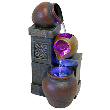 "10"" H Rustic Vase Tabletop Fountain with Color Changing LED Lights (No Adapter)"