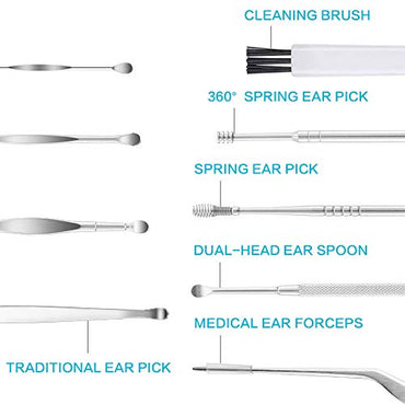 10 Pcs Ear Wax Removal Tool Kit, Upgraded Earwax Removal Tool Set Stainless Steel Ear Wax Removal for Kid and Adult with a Cleaning Brush and Storage Box, Silver