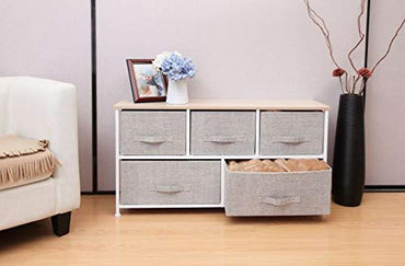 East Loft Extra Wide Storage Cube Dresser Organizer for Closet, Nursery, Bathroom, Laundry or Bedroom 5 Fabric Drawers, Solid Wood Top, Durable Steel Frame Natural