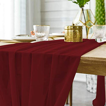 "10FT Chiffon Table Runner 27.5""x120"" Romantic Wedding Runner Smooth Sheer Buffet Table Top Decor for Bridal Valentine Party Baby Shower Thanksgiving Christmas Decorations Holiday (1PC Dark Purple)"