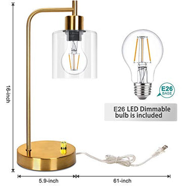 Gold Industrial Table Lamp with 2 USB Charging Ports, Elizabeth Vintage Lamp, Dimmable Bedside Reading Lamp, Brass Metal Desk Lamp with E26 Edison LED Bulb Glass Shade for Bedroom Living Room Office