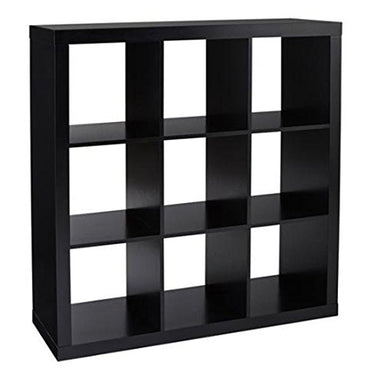 Better Homes and Gardens 9-Cube Organizer Storage Bookcase Bookshelf (Solid Black)