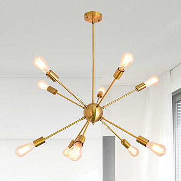 10 Lights Sputnik Chandelier Brushed Brass Vintage Pendant Lighting Modern Ceiling Light Fixture,Gold