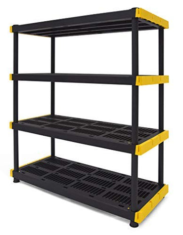 Original Black & Yellow 4-Tier Storage Shelving Unit, Indoor/Outdoor