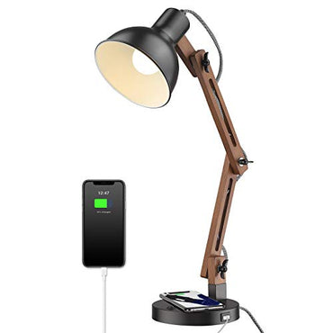 ELYONA Modern Swing Arm Desk Lamp with Wireless Charging & USB Port - Wood Bedside Table Lamp - Eye-Caring Reading Task Lights for College Dorm, Office, Living Room, Bedroom - Black