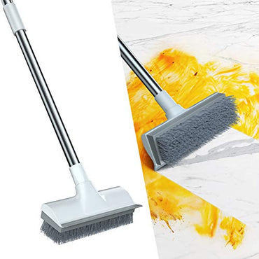"Qipi Floor Scrub Brush, Cleaning Brush with Long Handle Adjustable 50"" Deck Brush, 2 in 1 Scraper and Brush, Suitable for Cleaning Shower Bathrooms, Kitchens, Carpet, Swimming Pools, Walls"