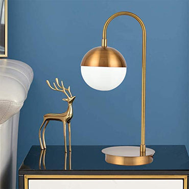 "Berliget 19.3"" Brass Gold Desk Table Lamp, Globe Metal Glass Industrial Nightstand Bedside Lamp for Bedroom Living Room Office"