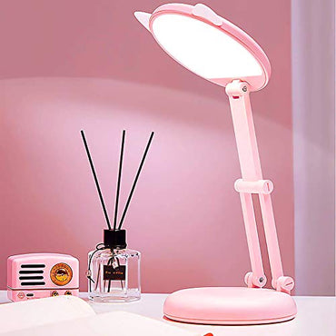 LED Small Desk Lamp Potable Folding Eye-Caring Light,4000K Soft Light,Stepless Diming,Touch Cute Cat Lamp for Girl Kids Dorm Read Study Bedroom Bedside Table Desktop Work Room Lighting - 2400mAh Pink