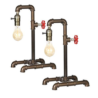 HAITRAL Retro Table Lamp Set of 2 , Industrial Steam Punk Lamp, Loft Style Rustic Bronze Metal Lighting, Pipe Desk Lamp for Bedside, Living Room, Office, Café, Store, Pub (Bulb Not Included)