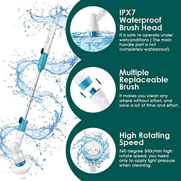 Electric Spin Scrubber, 360 Cordless Shower Floor Scrubber, Multi-Purpose Power Surface Cleaner with 3 Replaceable Scrubber Brush Heads and 1 Extension Arm for Tub, Tile, Bathroom, Wall