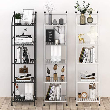 FKUO 5 Tier Bathroom Storage Open Shelf Unit, Free-Standing Metal Corner Rack Shelving for Kitchen, Living Room, Hallway (Black, 5 Tier)