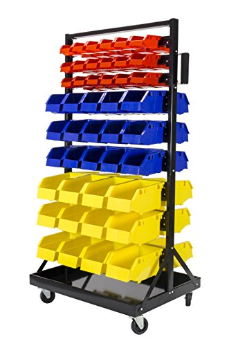 Steel Dragon Tools TLPB05 90 Parts Bin Shelving Storage Organizer with Locking Wheels for Shop Garage and Home