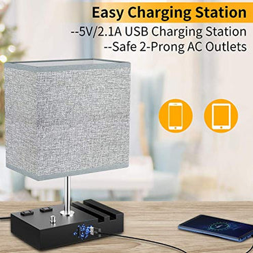 Table Lamps for bedrooms,Desk Lamps for Home Office,Desk Lamp with 2 USB Charging Ports, 2 AC Outlets and 2 Phone Stands
