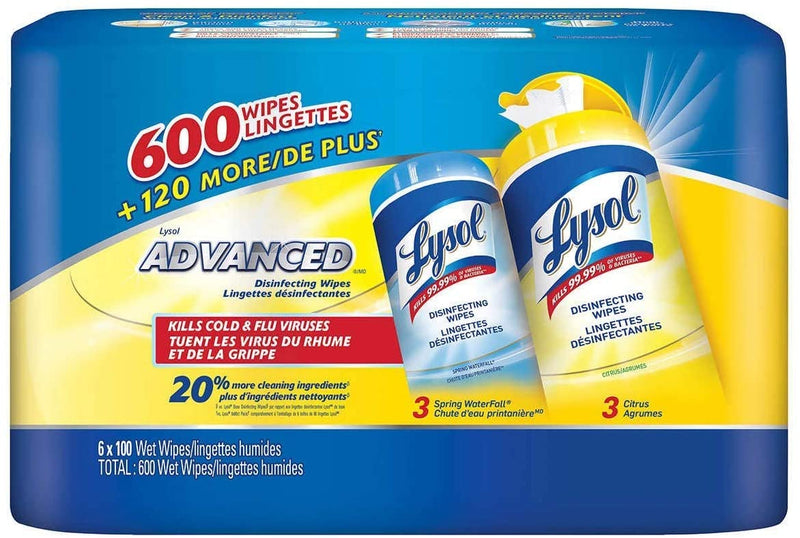 Lysol Disinfecting 100 Wipes (Case of 6)