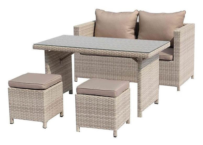 Abbie Outdoor Dining Collection Beige Wicker With Aluminum Frame