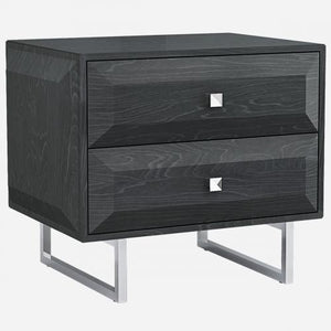 Abrazo Night Stand High Gloss Grey With 2 Self Close Drawers