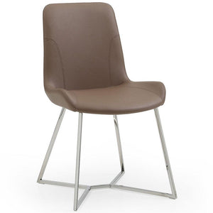 Aileen Dining Chair Taupe Faux Leather