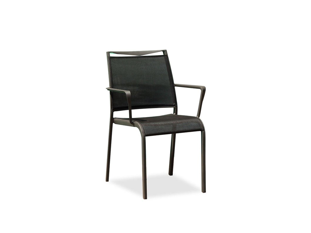 Aloha Indoor Outdoor Dining Armchair With Grey Aluminum Frame