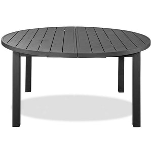 Aloha Indoor Outdoor Extendable Oval Dining Table In Grey Aluminum