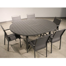 Load image into Gallery viewer, Aloha Indoor Outdoor Extendable Oval Dining Table In Grey Aluminum