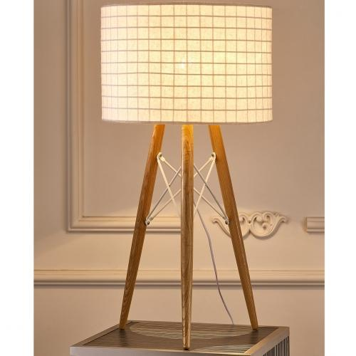 Amber Table Lamp Wooden Base And White Fabric Shade