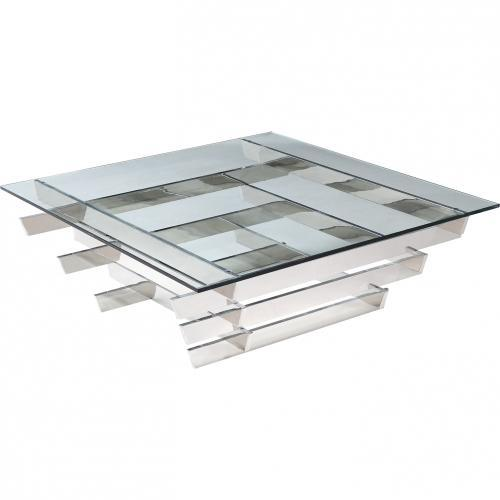 Aura Coffee Table Square Clear Glass With Stainless Steel Base