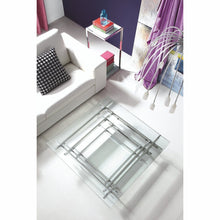 Load image into Gallery viewer, Aura Coffee Table Square Clear Glass With Stainless Steel Base