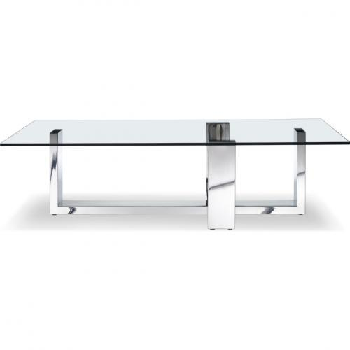 Blake Rectangle Coffee Table With Tempered Clear Glass Top