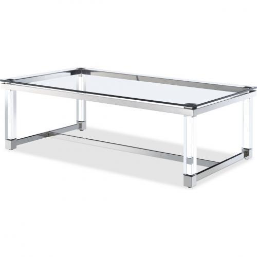 Brianna Rectangular Center Table With Tempered Clear Glass Top
