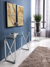 Load image into Gallery viewer, Brooke Console Clear Glass Stainless Steel Base