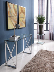 Brooke Console Clear Glass Stainless Steel Base