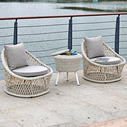 Canyon Indoor Outdoor 3 Piece Set One Side Table With Ice Bucket Inside
