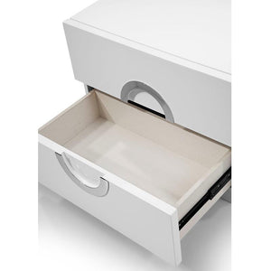 Eddy Night Stand With Small High Gloss White Stainless Steel Handles