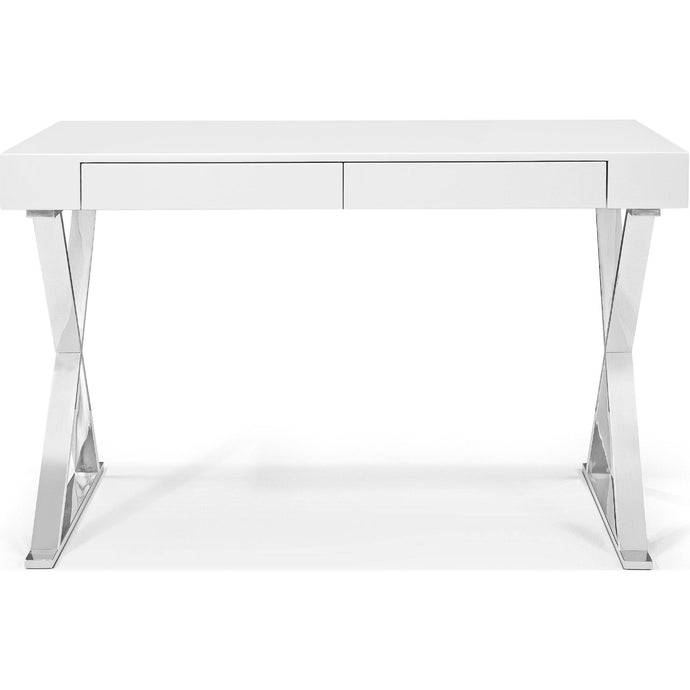 Elm Desk Large High Gloss White Two Drawers