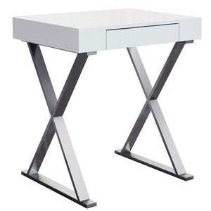 Elm Desk Small High Gloss White One Drawer