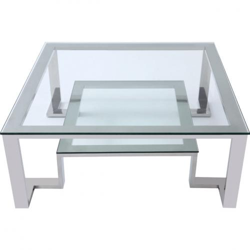 Fab Coffee Table Square Clear Glass With Stainless Steel Base