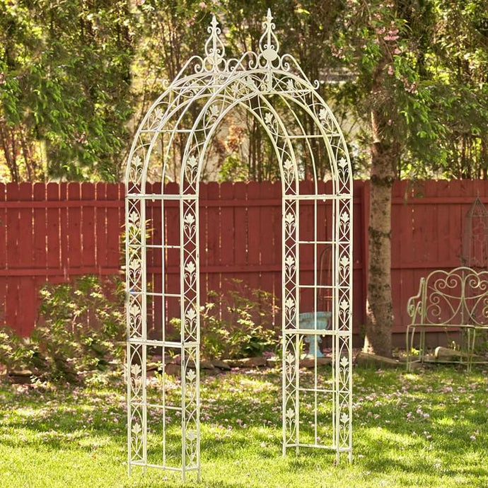 Gazebos, Arches, & Garden Gates - Iron Arch Decoration In Antique White
