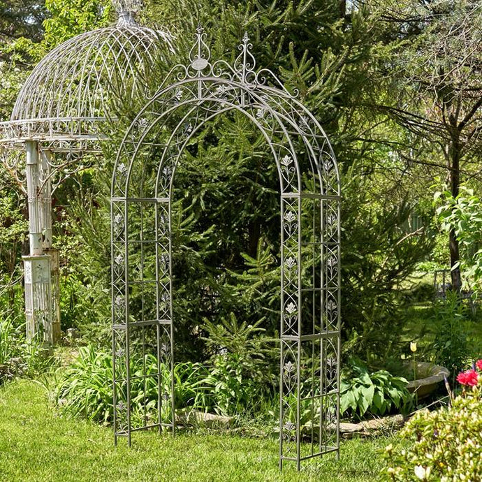 Gazebos, Arches, & Garden Gates - Iron Arch Decoration In Silver